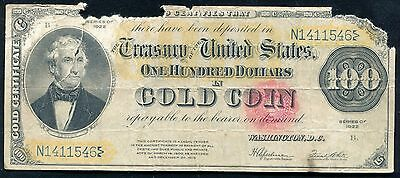 Fr. 1215 1922 $100 One Hundred Dollars Gold Certificate Currency Note