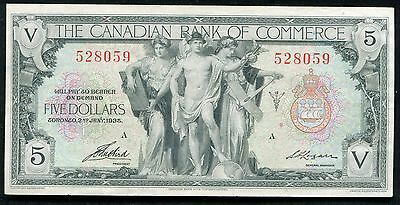 1935 $5 The Canadian Bank Of Commerce Toronto, Canada Chartered Banknote
