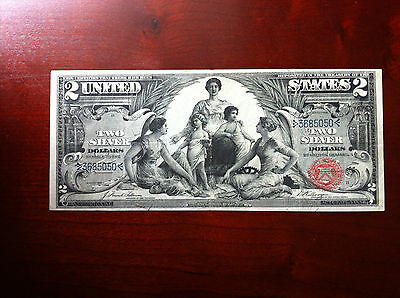 US 1896 $2 Education Silver Certificate Very Fine ++ scarcer FR 247