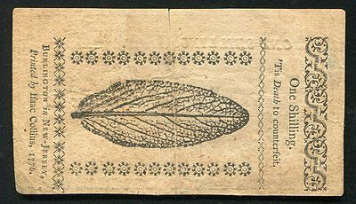 MARCH 25, 1776 1s ONE SHILLING NEW JERSEY COLONIAL CURRENCY NOTE
