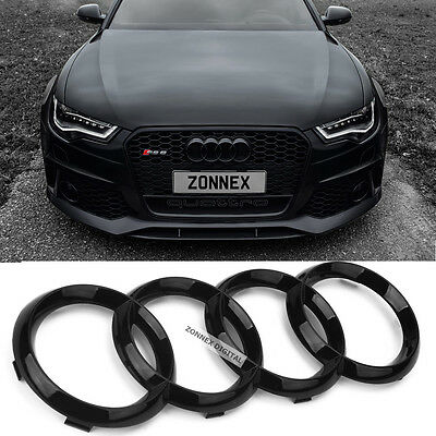 New Black Gloss Front Grille Badge Ring Logo Emblem Audi A4 A6 Q3 Q5 Q7 285x99mm
