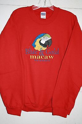 Blue and Gold Macaw Parrot Embroidered On A XLarge Red Crewneck Sweatshirt