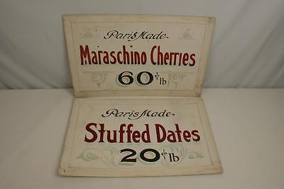 Lot of 2 Vintage Grocery Store Signs, Paris Made Stuffed Dates & Cherries