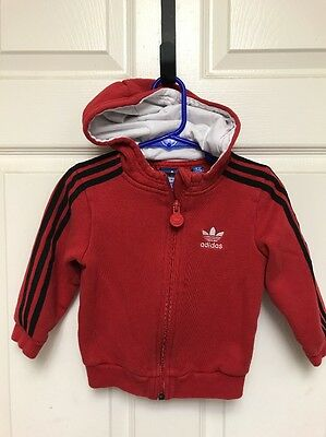 ADIDAS Toddler Kids Boys Baby Sweater Size 18M Red Black Striped Zip Up Hoodie