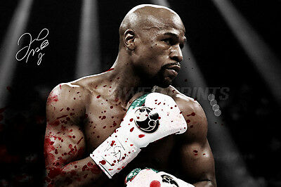 Floyd Mayweather Blood Art Pre-Signed Photo Print Poster N.o 2 - 12 X 8 Inch