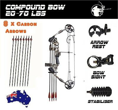20-70lbs Compound Bow Archery Hunting Camo Magnesium Right 8 X CARBON ARROWS