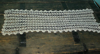 "Vintage Crochet Doily Off White Scalloped Edges 24"" x 10"""