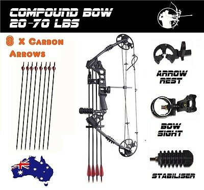 20-70lbs Compound Bow Archery Hunting Shoot Black Magnesium RH 8 X CARBON ARROW