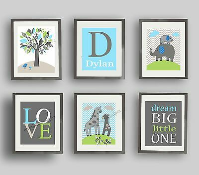 Elephant nursery art prints boy girl neutral bedding wall art decor