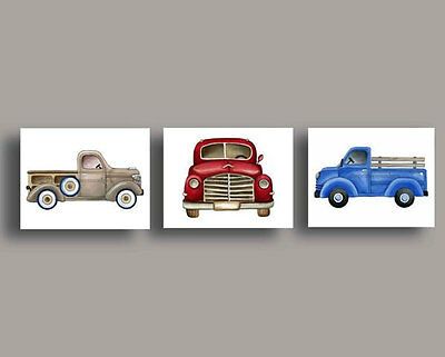 Vintage trucks art prints transportation  KIDS BOY NURSERY WALL ART DECOR