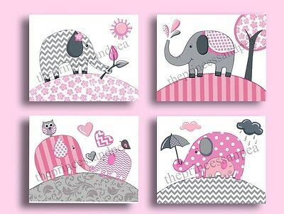 PINK GRAY ELEPHANT KIDS CHEVRON ZIG ZAG baby children NURSERY wall art decor