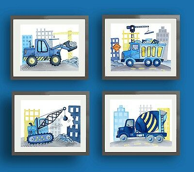 Construction Truck Art Prints Bedding Car Baby Boy Kids Children Wall Art Decor