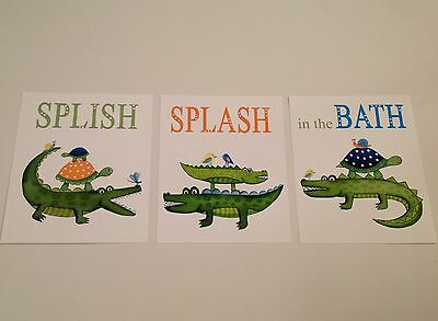 Alligator Gator Turtles  Bathroom Wall Decor Baby Kids Nursery Art Prints Shower