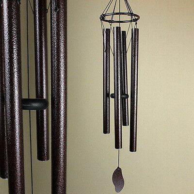Large Hand Tuned Bronze Coloured Metal Wind Chime Outdoor Musical Scale