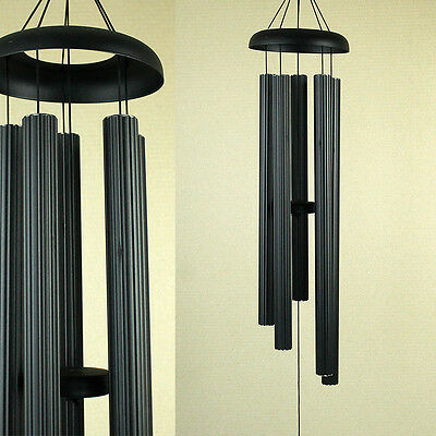 Large Hand Tuned Musical Scale Black Ribbed Metal Wind Chime Outdoors 113cm