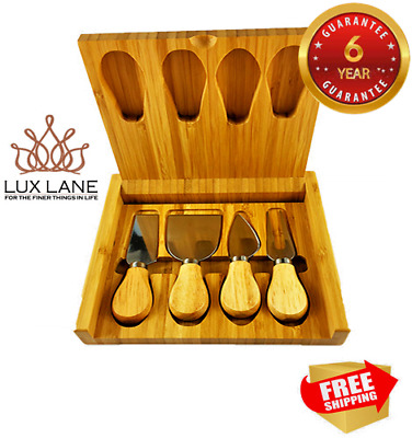 NEW Cheese Board Knife Box Set Lux Wood Bamboo 4 Tools (6-year guarantee)