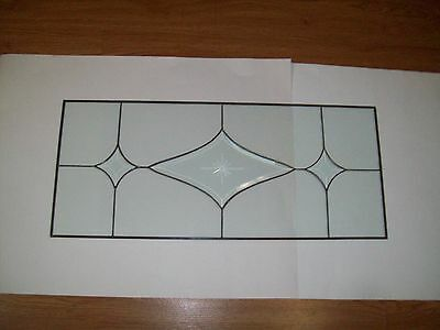 "Antique Leaded Clear Glass Panel, Beveled DESIGN  29 1/4 "" X 12 1/2""  QUICK SHIP"