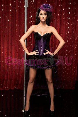 Ladies Burlesque Corset Red Purple Lace up Bustier Party Dress Costume Outfits