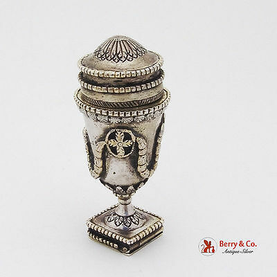 Antique Scandinavian Ornate Spice Box Silver Late 18th Or Early 19th Century