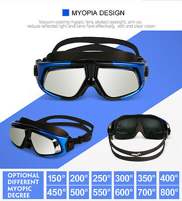 COPOZZ Large Frame Myopia Goggles -1.5 to -7.0 Nearsighted Swimming Goggles Mask