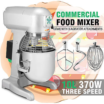 10 L Commercial Stand Food Mixer 0.5 HP 3 Speed w/ Three Agitator Attachments