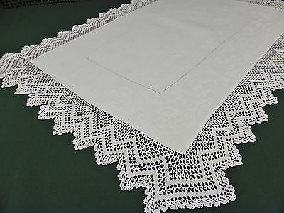 Antique Irish Linen White Damask Traycloth with Hand Crochet 22.5 x 32 Inches