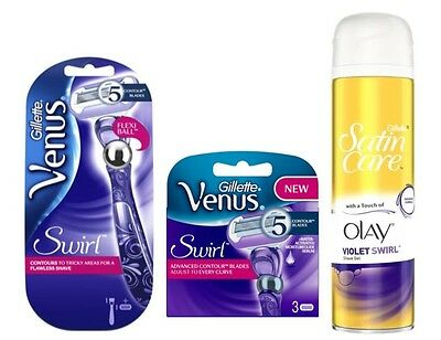 Gillette Venus Swirl Flexi-Ball Women's Contour Razor + 4 Blades + Shaving Gel