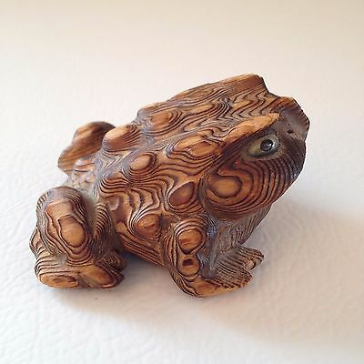 1950- 60's  Hand Carved Japanese Cedar, Sugi, Wood Japanese Toad / Frog
