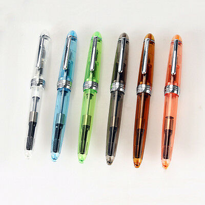 Jinhao 992 Transparent 6 Colour Spiral round office Fine nib Fountain Pen New