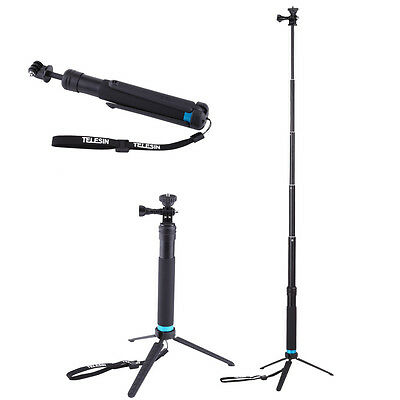 Extendable Monopod Remote Selfie Stick Pole With Tripod For GoPro Hero 4 5 DY