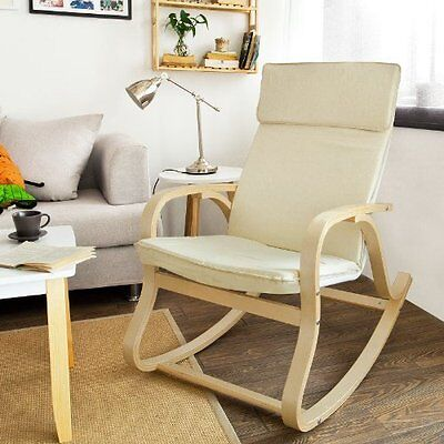 Rocking Chair Lounge Chair With Cream Cotton Fabric Cushion Comfortable & Relax