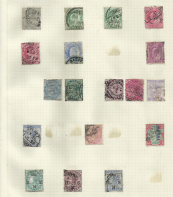 India & States stamps on 5 pages  QV-KGVI -used