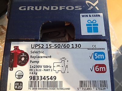 Grundfos . 15-50/60 UPS2 PUMP 130 Selectric.6m 5m. EUP ready.same day POST BNIB.