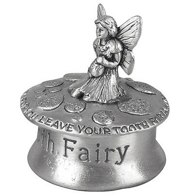 Pewter Kneeling Tooth Fairy First Tooth Box Christening Gift