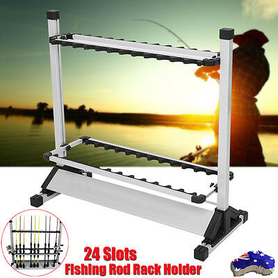 Fishing Rod Rack Holder Stand 24 Slots Alloy Metallic Silver + Black Foldable AU