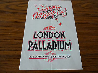 C1950s Advertising Leaflet: London Palladium Coming Attractions: Billy Daniels