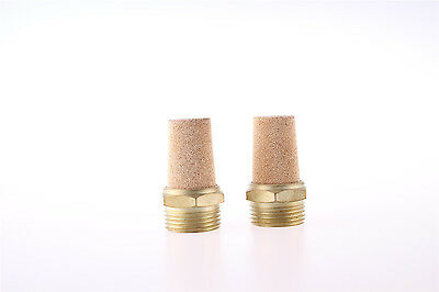 Brass Noise Reducing Pneumatic Muffler Silencer G1.5 PT Male Thread 2Pcs