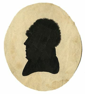 Silhouette of a Man with Thick Hair - Original 19th-century pen & ink drawing