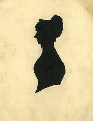 Silhouette of Woman in a Bonnet - Original early 19th-century pen & ink drawing