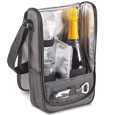 VonShef 2 Person Grey Picnic Wine Carrier Bag – Includes 2 Glasses and Corkscrew