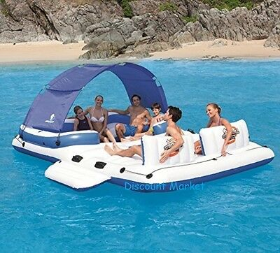 XL Inflatable Lounger With Canopy Pool Beach Tanning Mattress Floating Island