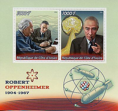 Ivory Coast 2016 MNH Robert Oppenheimer 2v M/S Physics Science Stamps