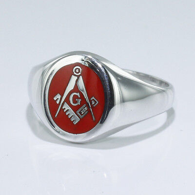 Hallmarked 925 Solid Silver Square And Compass Red Enamel Ring With Letter G
