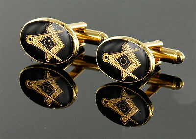 PAIR of gold plated square and compass with g masonic cufflinks