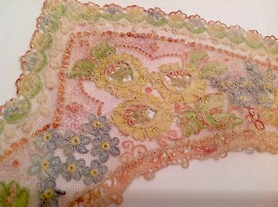 Beautiful Antique  Hand Worked Coloured Pastel Thread Lace Dress Collar
