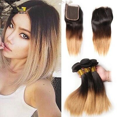 8A 300g/3bundles ombre 1/27 peruvian human hair 10inches &closure 10inches uk