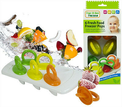6 x Fresh Food Freezer Baby Pops Weaning Feeding Ice Pots Tray BPA Free