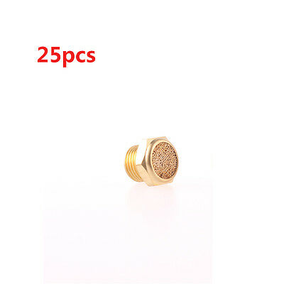 25 Pcs Flat Pneumatic Noise Muffler Filter Gold Tone 3/4PT Male Thread