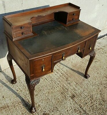Antique vintage Writing desk by Harrords leather topped kneehole office study