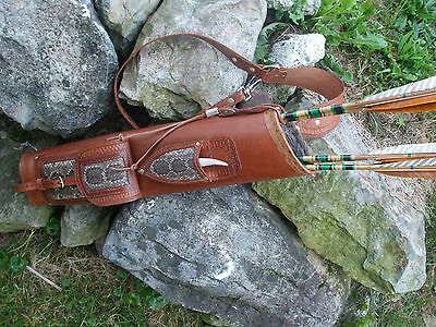 Rattlesnake Broadhead Knife Leather Back Quiver Right Or Left 3 Point Harness